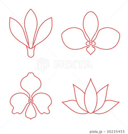 Set of flower line art vector on white backgroundのイラスト素材 [30235455] - PIXTA