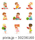 Cute little kids eating watermelon. Healthy eating 30236160