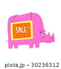 Cute cartoon pink rhinoceros with Sale sign board 30236312