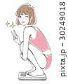 女性 体重計 喜ぶのイラスト 30249018