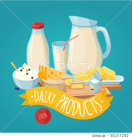 Dairy Products Posterのイラスト素材 [30257292] - PIXTA