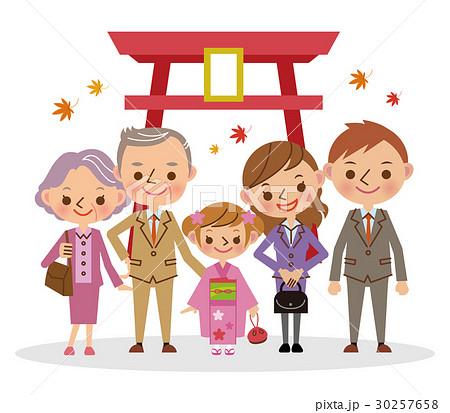祖父母と七五三のお参り 七歳女児  30257658
