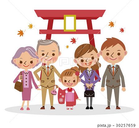 祖父母と七五三のお参り 三歳女児  30257659