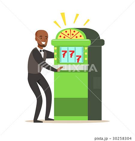 Happy, man is playing slot machine, jackpot 30258304