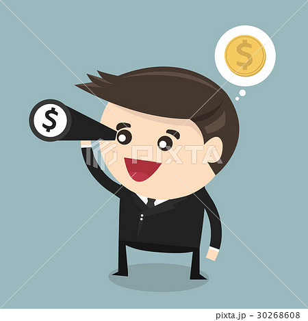 Businessman using binoculars , vector, flat designのイラスト素材 [30268608] - PIXTA