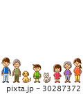家族 三世代 横一列のイラスト 30287372