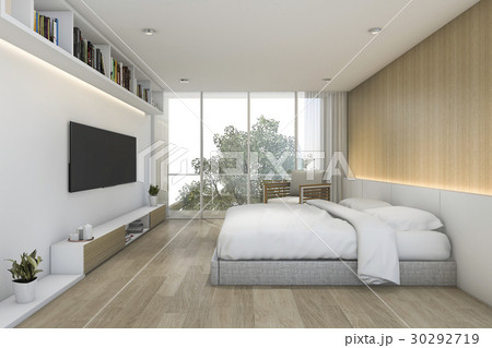 minimal wood bedroom with tv and shelf 30292719