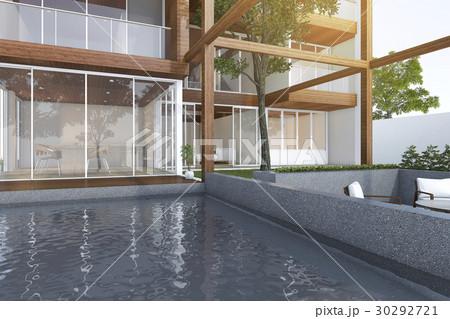 outdoor pool near wood modern building 30292721
