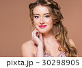 Portrait young blond woman with long hairdress 30298905