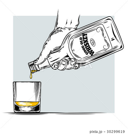 Vector illustration of whiskey and glassのイラスト素材 [30299619] - PIXTA
