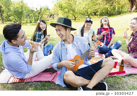 happy young  group enjoying  picnic party 30303427