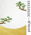 和紙の風合いを感じる和風イラスト(松、和紙、金箔) 30305393