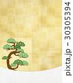 和紙の風合いを感じる和風イラスト(松、和紙、金箔) 30305394