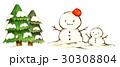 ツリー・雪だるまイラスト 30308804