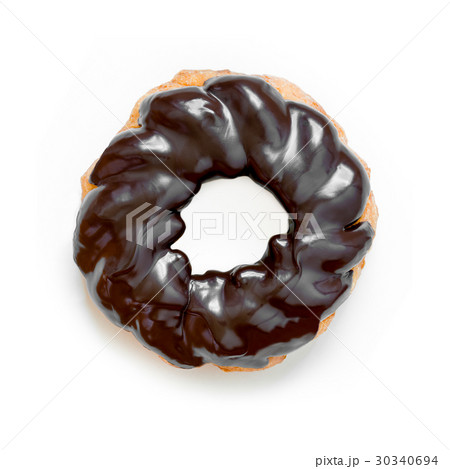 French Cruller Chocolate Donut, Isolated on Whiteの写真素材 [30340694] - PIXTA