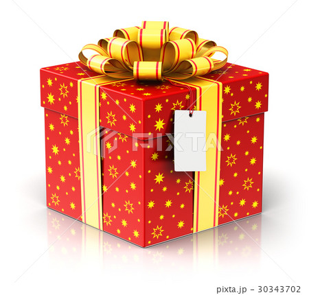 gift or present box with ribbon bow and label tagのイラスト素材