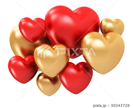 Red and golden hearts 30343726