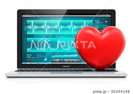 Laptop medical diagnostic software red heart shape 30344148