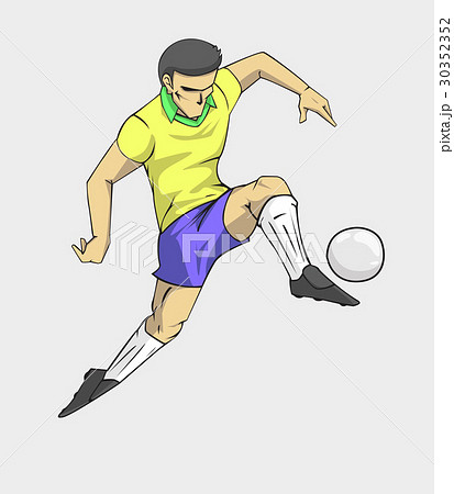 soccer player action kick the ball. 30352352