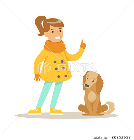 Cute smiling girl walking with her dog outdoor 30352958