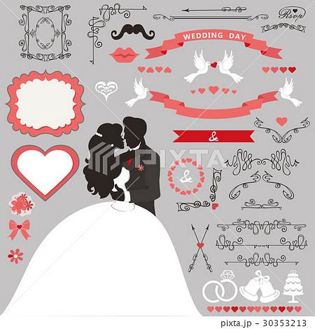 wedding invitation decoration set kissing coupleのイラスト素材