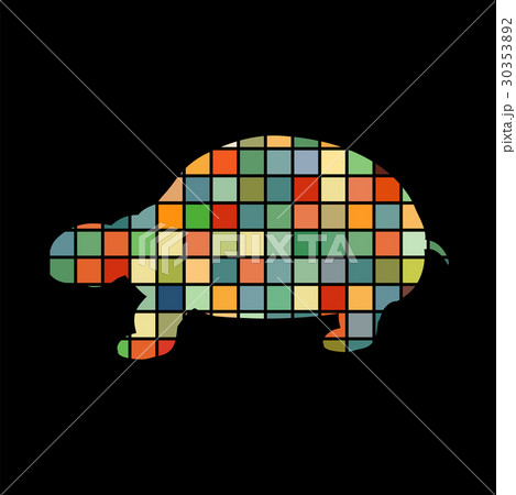 Land turtle reptile color silhouette animalのイラスト素材 [30353892] - PIXTA