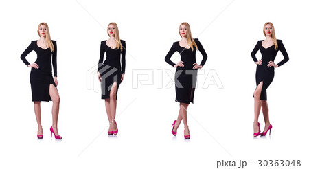 Woman in black dress in fashion concept on whiteの写真素材 ...