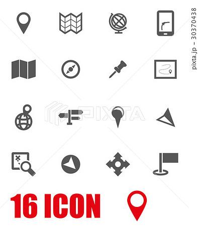 Vector grey map icon set 30370438