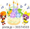 可愛い女の子と紫陽花のバースデーケーキ 30374503