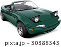 Green two-seater roadster with open headlights 30388343