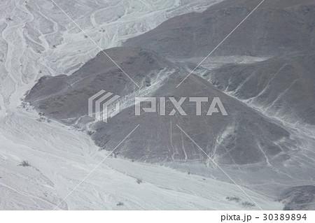 南米ペルーの観光地、世界遺産ナスカの地上絵「巨人」の空撮 30389894