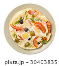 Scrambled eggs with tomatoes and olives isolated 30403835