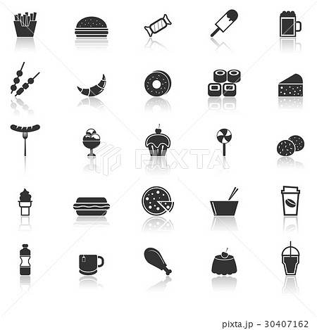 Fast food icons with reflect on white background 30407162