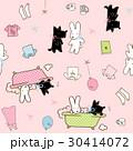かわいいウサギと犬のシームレスなパターン。子供のためのベクトルの背景 30414072