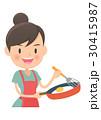 主婦 料理 焼くのイラスト 30415987