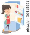 主婦 冷蔵庫 献立のイラスト 30415991