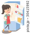 主婦 冷蔵庫 献立のイラスト 30415992
