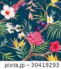 Watercolor vector tropical floral pattern 30419293