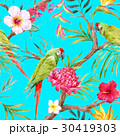 Watercolor vector tropical floral pattern 30419303