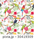 Watercolor vector tropical floral pattern 30419309