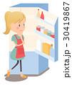 主婦 冷蔵庫 献立のイラスト 30419867