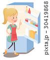 主婦 冷蔵庫 献立のイラスト 30419868