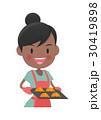 主婦 料理 パン作りのイラスト 30419898