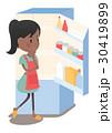 主婦 冷蔵庫 悩みのイラスト 30419899