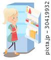 主婦 冷蔵庫 悩みのイラスト 30419932