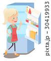 主婦 冷蔵庫 思いつくのイラスト 30419933