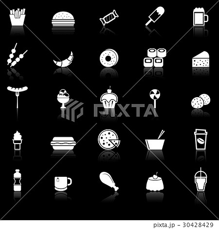 Fast food icons with reflect on black background 30428429