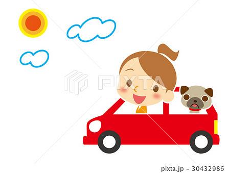 ドライブ ワンちゃんとポニーテールのお姉さん 30432986