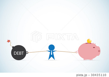 debt vs saving and businessman, business concept 30435110