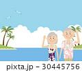 アロハシャツ 夫婦 リゾートのイラスト 30445756